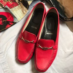 Escada handsewn slip on moccasins in red reptile